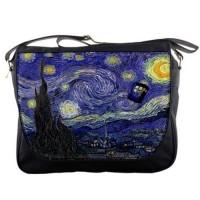 Starry Night TARDIS Messenger Bag