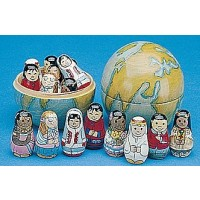 Wooden Nesting Globe with Dolls