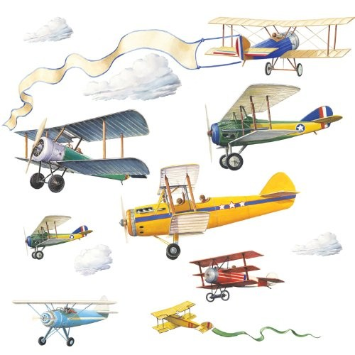 Vintage plane wall decals a mighty girl for Airplane wall mural