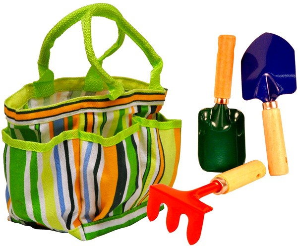 Garden tote with tools a mighty girl for Childrens gardening tools new zealand