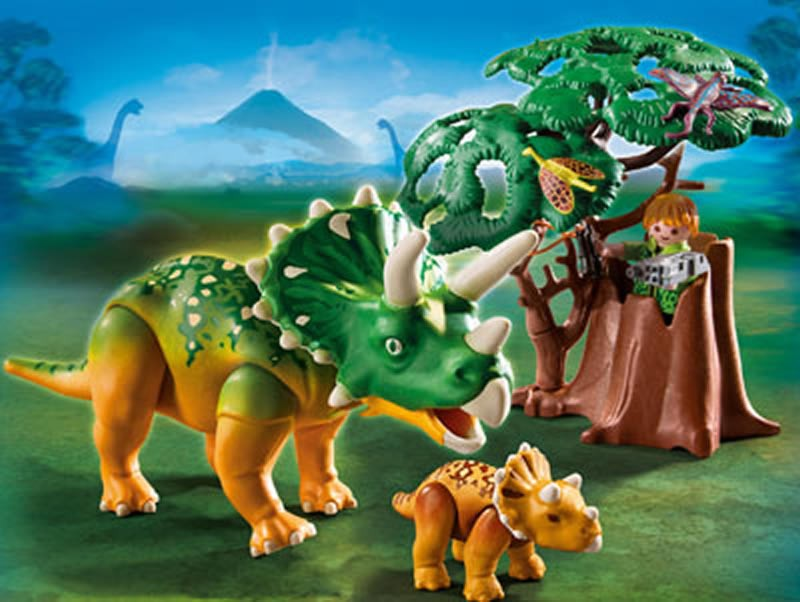 Triceratops with baby dinosaur set a mighty girl - Dinosaur playmobile ...