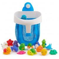 Super Scoop Bath Toy Organizer and 16 Piece Bath Squirt Set