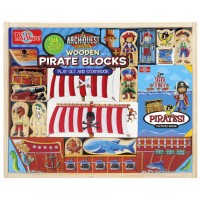 Wooden Pirate Blocks Play Set and Storybook