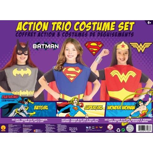 DC Superhero Trio: Batgirl, Supergirl, and Wonder Woman Costume Set